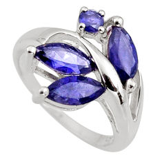 4.43cts natural blue iolite 925 sterling silver ring jewelry size 6 r6220