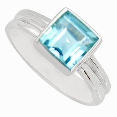2.72cts natural blue topaz 925 sterling silver solitaire ring size 5.5 r6227
