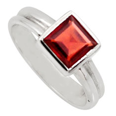925 sterling silver 2.72cts natural red garnet solitaire ring size 8.5 r6233