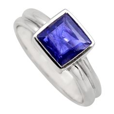 2.44cts natural blue iolite 925 sterling silver solitaire ring size 7.5 r6234