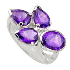 6.48cts natural purple amethyst 925 sterling silver ring jewelry size 8.5 r6246