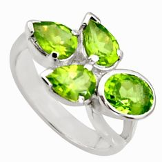 6.03cts natural green peridot 925 sterling silver ring jewelry size 6 r6248