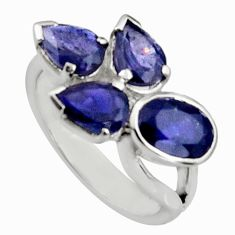 925 sterling silver 6.26cts natural blue iolite oval ring jewelry size 7.5 r6259