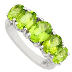 925 sterling silver 7.04cts natural green peridot oval ring size 6.5 r6266