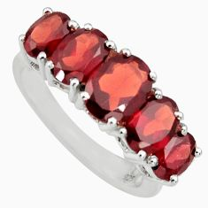 925 sterling silver 7.21cts natural red garnet oval ring jewelry size 7.5 r6272