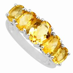 7.04cts natural yellow citrine 925 sterling silver ring jewelry size 6.5 r6274
