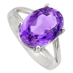 6.33cts natural purple amethyst 925 silver solitaire ring jewelry size 6 r6281