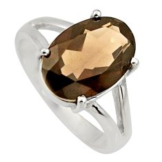 925 sterling silver 6.02cts brown smoky topaz oval solitaire ring size 9 r6295