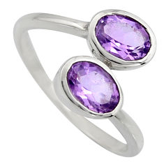2.96cts natural purple amethyst 925 sterling silver ring jewelry size 6 r6302