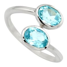 925 sterling silver 3.42cts natural blue topaz ring jewelry size 7.5 r6303