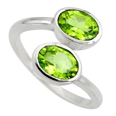 3.17cts natural green peridot 925 sterling silver ring jewelry size 6 r6307