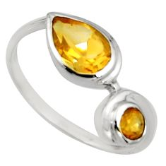 925 sterling silver 2.99cts natural yellow citrine ring jewelry size 8.5 r6324