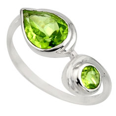 2.98cts natural green peridot 925 sterling silver ring jewelry size 6.5 r6329