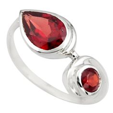 3.18cts natural red garnet 925 sterling silver ring jewelry size 6 r6337