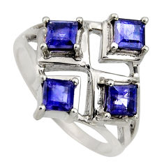 925 sterling silver 2.04cts natural blue iolite ring jewelry size 6 r6358