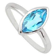 925 silver 2.47cts natural blue topaz marquise solitaire ring size 5.5 r6394