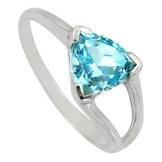 925 sterling silver 2.69cts natural blue topaz solitaire ring size 6.5 r6416