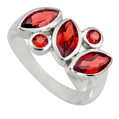 925 sterling silver 6.58cts natural red garnet ring jewelry size 7.5 r6428