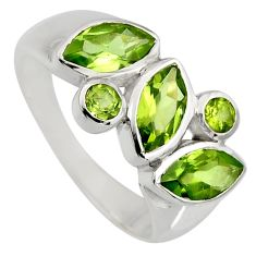 6.30cts natural green peridot 925 sterling silver ring jewelry size 9 r6430