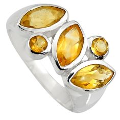 6.58cts natural yellow citrine 925 sterling silver ring jewelry size 6.5 r6433