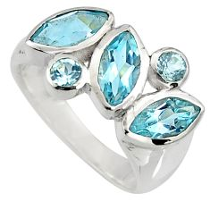 925 sterling silver 6.31cts natural blue topaz ring jewelry size 5.5 r6436