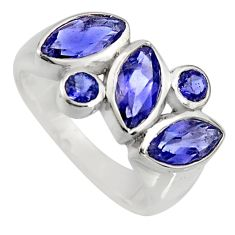 6.58cts natural blue iolite 925 sterling silver ring jewelry size 5.5 r6438