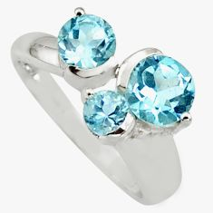 3.13cts natural blue topaz 925 sterling silver ring jewelry size 5.5 r6445