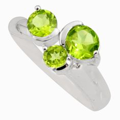 3.13cts natural green peridot 925 sterling silver ring jewelry size 9 r6450