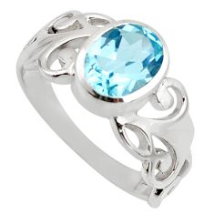 3.18cts natural blue topaz 925 sterling silver solitaire ring size 8 r6455