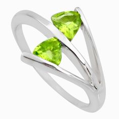 1.81cts natural green peridot 925 sterling silver ring jewelry size 8.5 r6459
