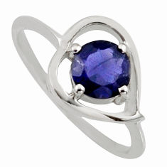 1.36cts natural blue iolite 925 sterling silver solitaire ring size 5.5 r6461