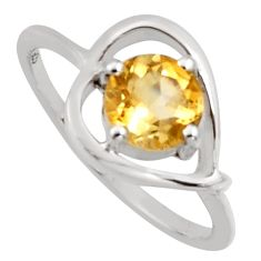 1.49cts natural yellow citrine 925 sterling silver solitaire ring size 5.5 r6465