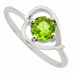 1.47cts natural green peridot 925 sterling silver solitaire ring size 8.5 r6466