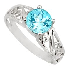 2.42cts natural blue topaz 925 sterling silver solitaire ring size 7.5 r6467