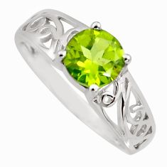 2.10cts natural green peridot 925 sterling silver solitaire ring size 7.5 r6468
