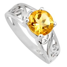 925 sterling silver 2.27cts natural yellow citrine solitaire ring size 5.5 r6469