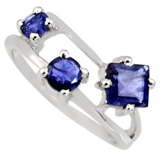 2.23cts natural blue iolite 925 sterling silver ring jewelry size 5.5 r6471