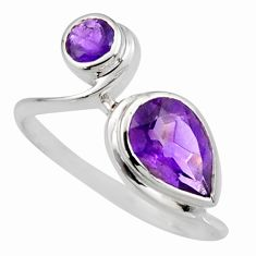 925 sterling silver 2.96cts natural purple amethyst ring jewelry size 7.5 r6476