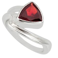 3.35cts natural red garnet 925 sterling silver solitaire ring size 6.5 r6477