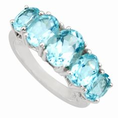 7.30cts natural blue topaz 925 sterling silver ring jewelry size 8.5 r6478