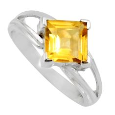 2.72cts natural yellow citrine 925 sterling silver solitaire ring size 6.5 r6480