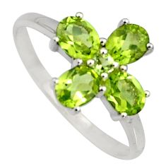4.07cts natural green peridot 925 sterling silver ring jewelry size 8.5 r6485
