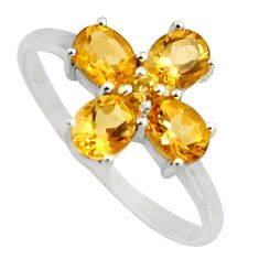 4.12cts natural yellow citrine 925 sterling silver ring jewelry size 6.5 r6494