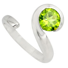 925 silver 2.41cts natural green peridot round adjustable ring size 6 r6514