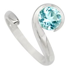 2.55cts natural blue topaz 925 sterling silver adjustable ring size 8 r6518