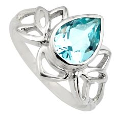 925 sterling silver 2.58cts natural blue topaz pear solitaire ring size 8 r6528