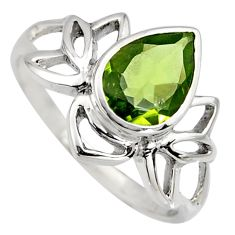 2.43cts natural green peridot 925 sterling silver solitaire ring size 7.5 r6532