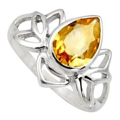 2.43cts natural yellow citrine 925 sterling silver solitaire ring size 8 r6534