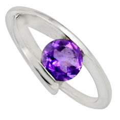 925 silver 1.56cts natural purple amethyst round solitaire ring size 6.5 r6544