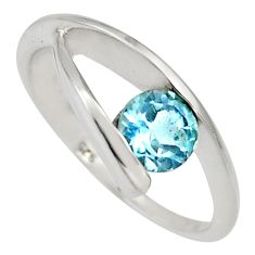 1.61cts natural blue topaz 925 sterling silver solitaire ring size 7.5 r6554